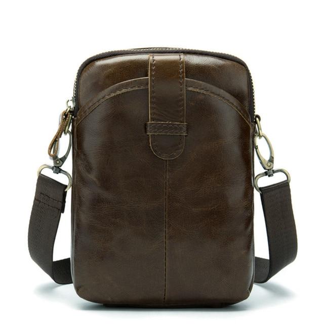 Vintage Men Messenger Bags Genuine Leather Mini Travel Bag 6