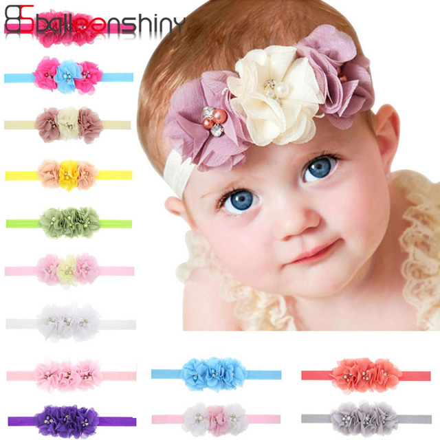 Balleenshiny Baby Hair Accessories Pearl Chiffon Flower Baby Hair Band Fashion Wild Infant Toddler Photography Props Headwear