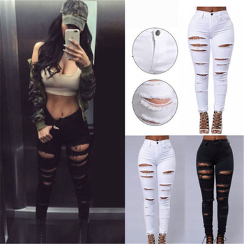New Sexy Women Pencil Stretch Casual Denim Skinny Jeans Ladies Ripped Hole Slim Pants High Waist Lift Hip Jeans Summer Trousers