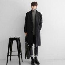 2019 Woolen mens Overcoat Male Korean Easy Drop Shoulder Insert Rotator Cuff Windbreaker Loose long winter Coat for jaket men