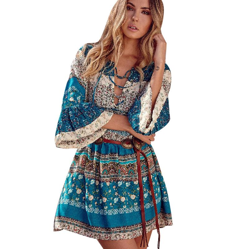 Boho Summer Half Sleeve Dresses Floral Print V-neck Lace Up Mini Casual Dress Women Bohemian Hippie Chic Vestidos Clothing