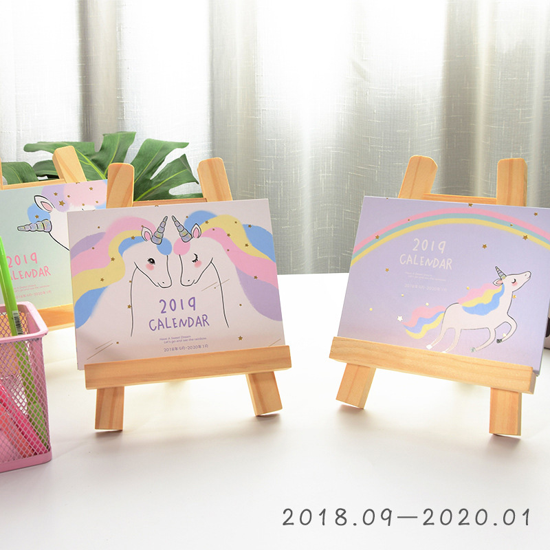 2019 Cherry Cats Standing Desk Calendar Rainbow Unicorn Calendar With Wood Holder Desktop To Do List Office Daily Planner Book kicute european perpetual wooden calendar desktop block wood calendar diy yearly planner pen holder desk office stationery