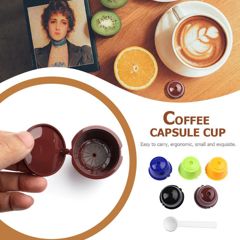 5pcs Plastic Reusable Coffee Capsule Cup Filter Baskets Set with Spoon for Dolce Gusto Coffee Machine Coffee Filter Coffeeware