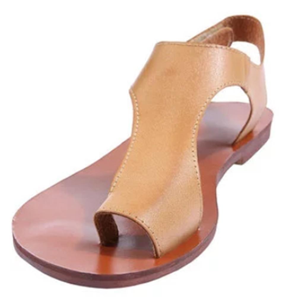 Cuero Verano Flip Pu Flop Plano Sandalias Mujer Moda De Gladiador XkZPuOi