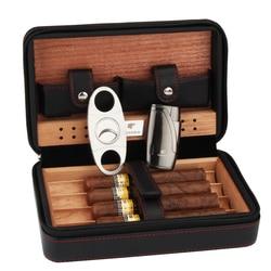 Cohiba Portable en cuir étui à cigares de voyage cèdre bois Linied humidificateur avec torche Jet flamme briquets coupe humidificateur ensemble