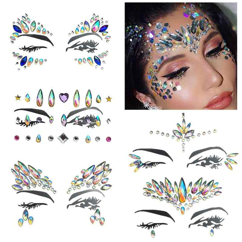 ... Face Diamond Sticker Eco-Friendly Resin Crystal Rhinestone Face Sticker  Holiday Party Dance Eyebrows Face ... 56d7e3921dbc