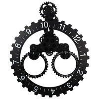 DIY Large Quartz Movement Wall Clock Mechanical Gear Elements Decorative Modern Steampunk Big Month/Date/Hour Wheel Wall Clocks