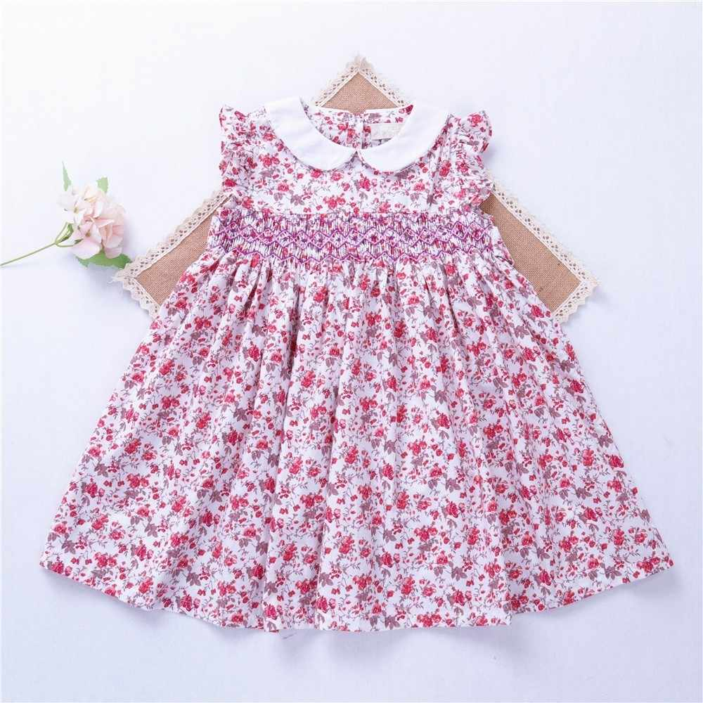 2ae44f219 summer girl smocked dress frock baby girl clothes embroidery flower Party kids  dresses For Girl's clothing