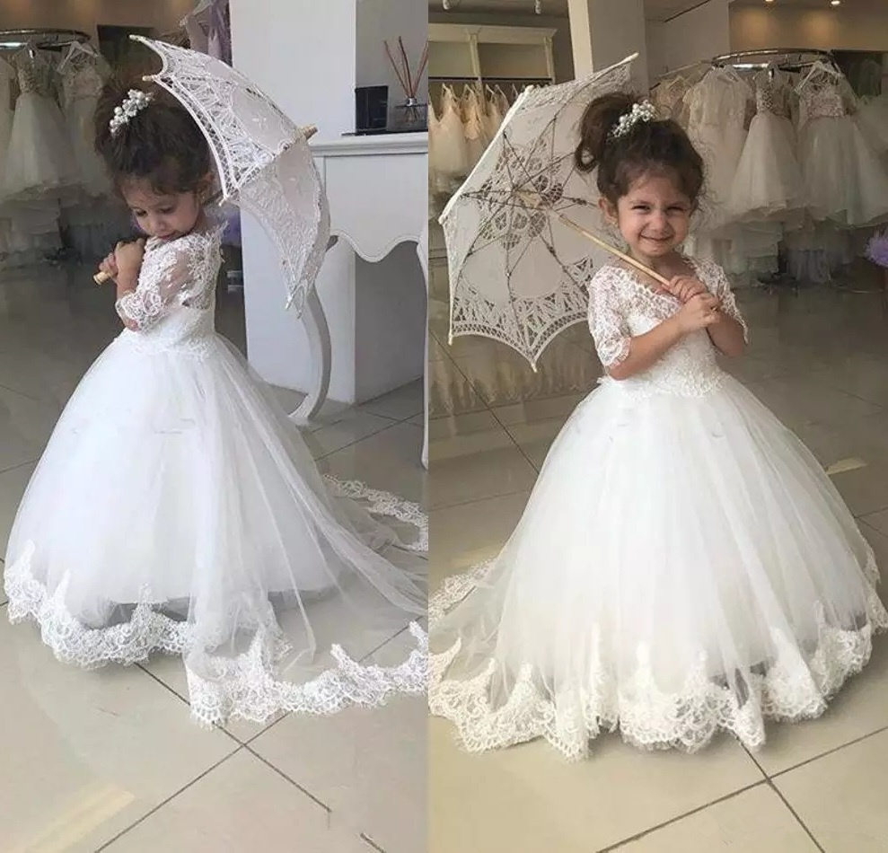 Kids Lolita Flower Girl Dresses For Wedding First Communion Princess Party Gifts