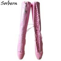 Sorbern Baby/розовые облегающие расклешённые сапоги; женские балетки на каблуке 7 дюймов; Фетиш балетки; некрасивые сапоги до колена; унисекс