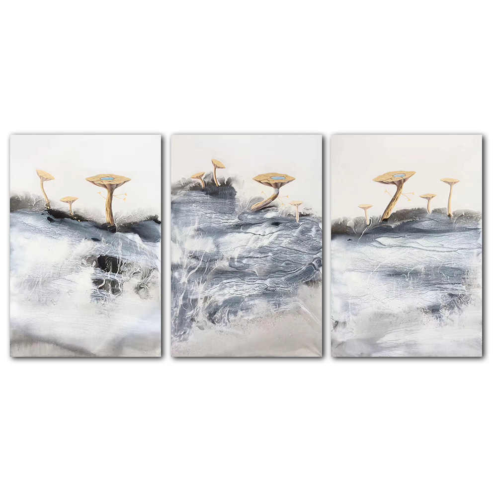 Triptych Landscape Canvas Painting For Living Room Art Wall Picture Decoration Poster Unframed Abstract Oil Painting