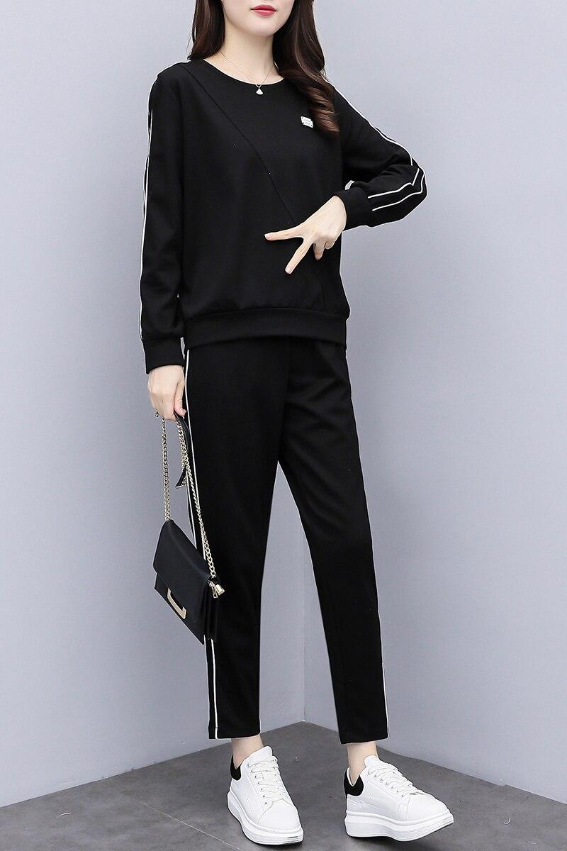 Longues Femmes T Sport Deux 2018 pièce Costume À Automne Pour Black Grande Casual Pantalon Pieds Manches shirt Survêtement Taille Féminin Ensemble 5S7Pqxwgf