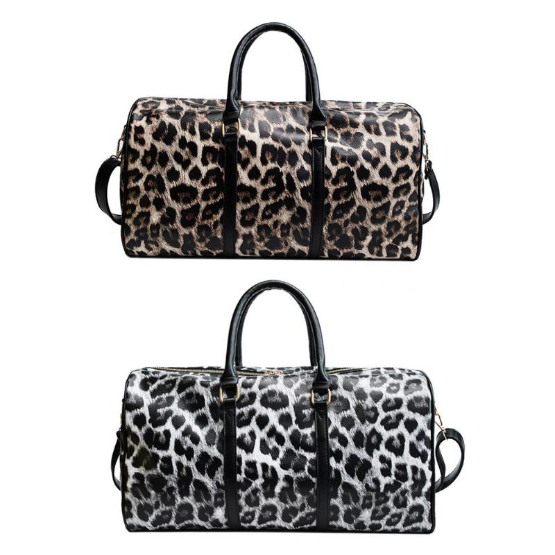 Women Travel Bags Pu Leather Large Capacity Waterproof Print Luggage Women Leather Handbags Casual Travel Bags