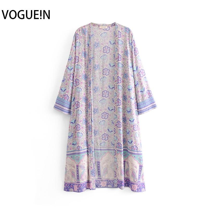 VOGUEIN New Womens Boho Lilac Floral Print Kimono Long Cardigan   Blouse     Shirt   Top Wholesale