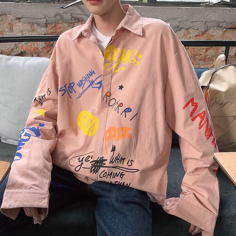 2019 wiosna nowy japoński College wiatr mężczyzna na co dzień z długimi rękawami Trend hip-hop para tekst koszula z nadrukiem duży rozmiar Party