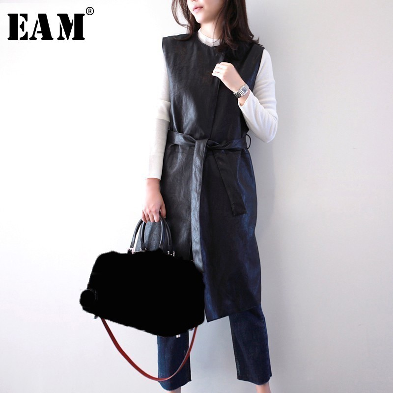 [EAM]High Quality 2019 SpringWinter PU Leather Black Waist Lace Up Sleeveless Mid Long Coat Fashion New Women's Slim Vest LA936