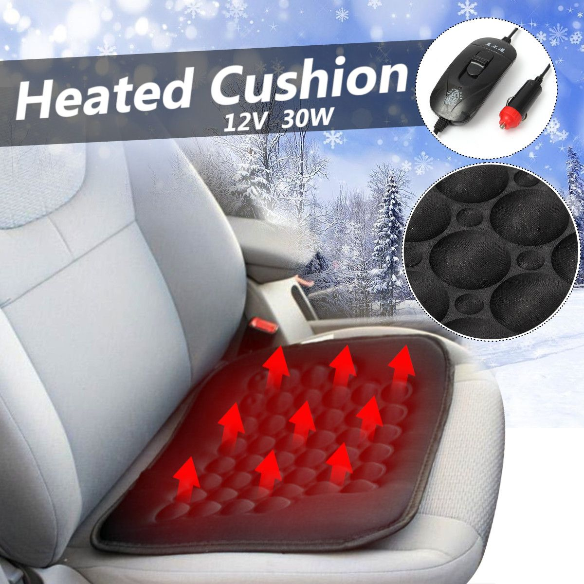 Heated-Cushion Cover Warmer Temperature-Control Universal Electric Winter Front-Seat