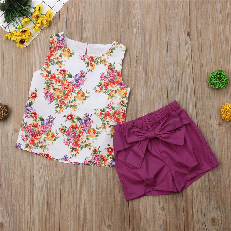 Toddler Baby Kid Girl Summer Sleeveless Bow Vest Tops+Floral Shorts Outfits Set