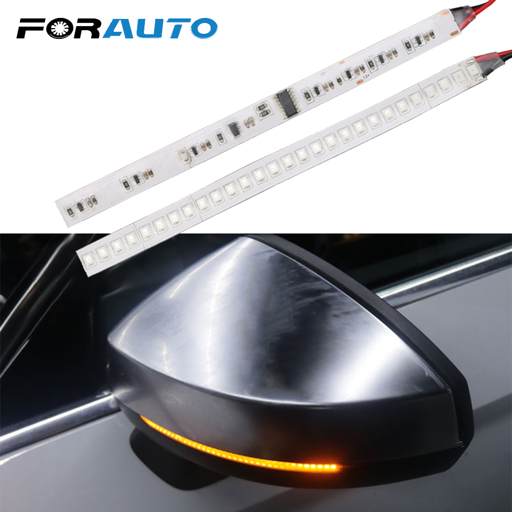 FORAUTO 1 Pair Car Rearview Mirror Indicator Lamp Streamer Strip Flowing Turn Signal Lamp Amber LED Car Light Source 28 SMD