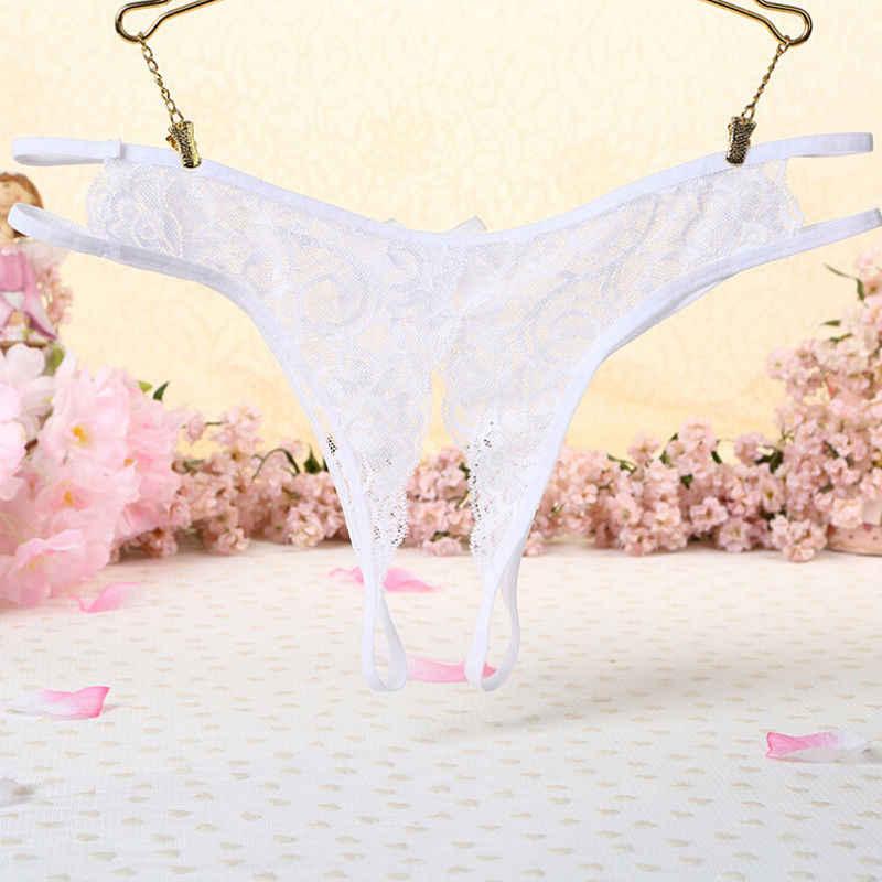 Point ouvert Lingerie Sexy chaude érotique dentelle slips femmes culotte sans entrejambe culotte string string sous-vêtements Sexy