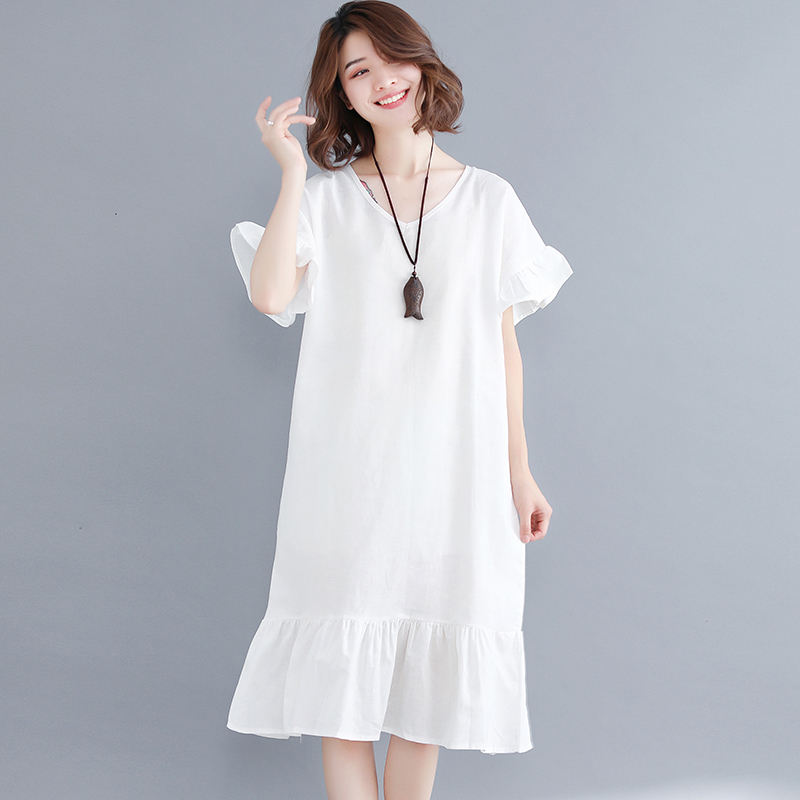 0109 Summer V-neck White Cotton Linen Dress Women Ruffle Sleeve Dresses  Ladies Plus Size XXL Loose Vintage Casual T Shirt Dress