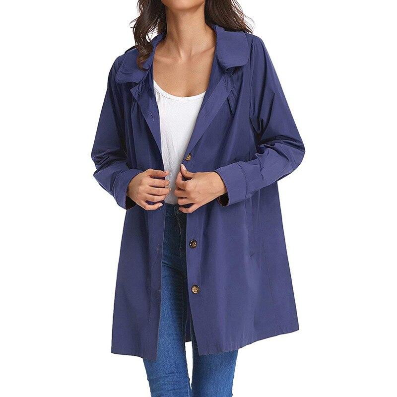 Fashion   Trench   Coat Women Hooded Waterproof Overcoat Solid Long Sleeve Button Outerwear Army Green/Black/Dark Blue Windbreaker