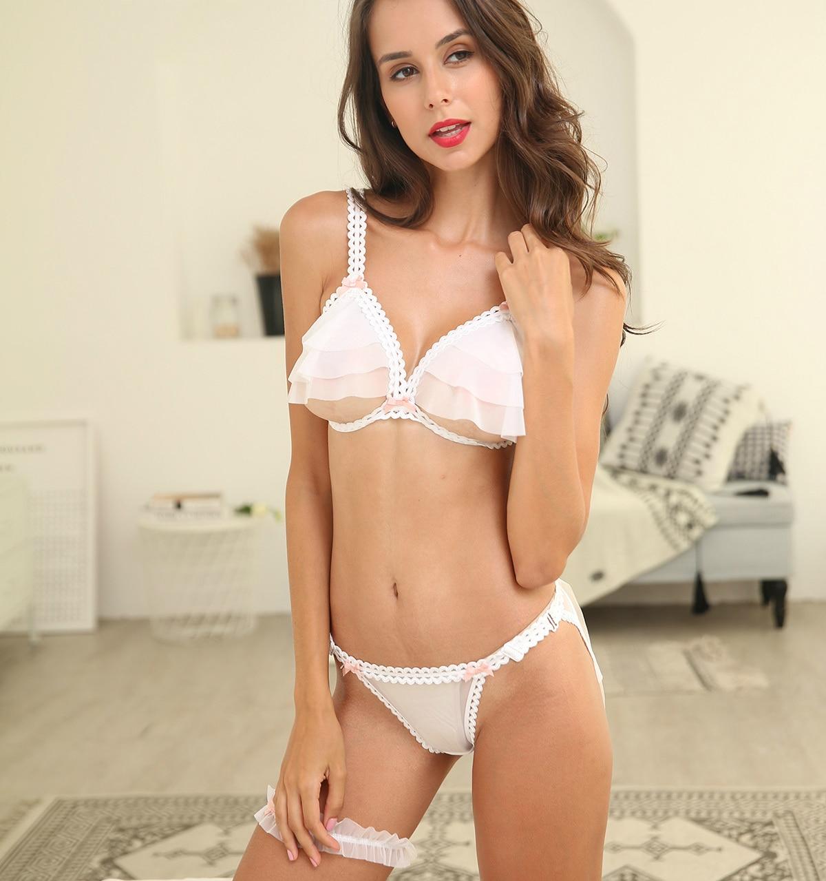 Image 4 - Beautiful Ultra thin Gauze Transparent Sexy Push Up Bra Sets Temptation Wedding Underwear Wireless Bra Crotchless Panties SetBra & Brief Sets   -