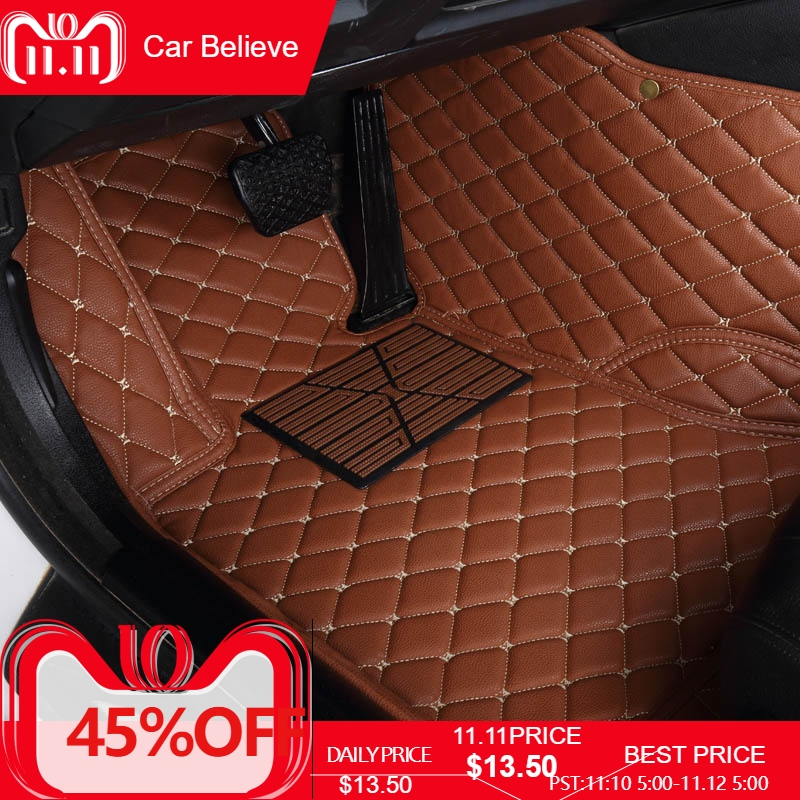 Car Believe Auto car floor Foot mat For peugeot 308 206 508 5008 301 2008 307 207 3008 2012 waterproof car accessories styling auto car carpet foot floor mats for peugeot 308 206 307 sw 3008 peugeot parthner 5008 2010 203 2009 car mats accessories