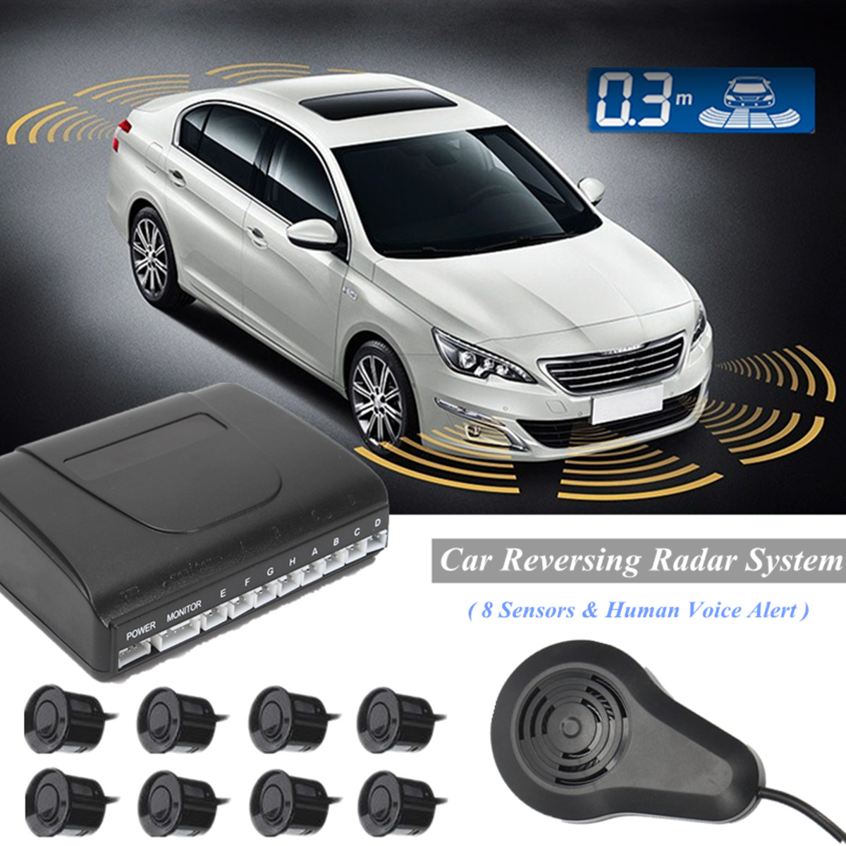100% Quality 8 Sensors Voice Parking System Truck Car Reversing Assistance Backup Radar Buzzer System With Human Sound Alarm Kit Monitor Diversified In Packaging