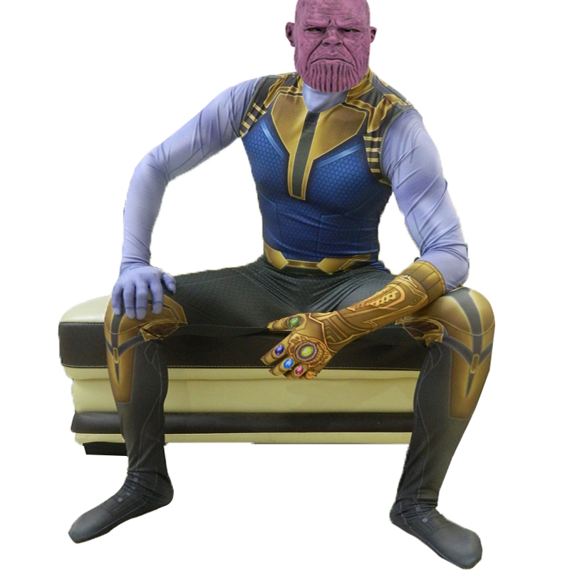 Deluxe Thanos Cosplay Costume Megamind Thanos Costume Adult Avengers 4 Endgame Zentai Suit Jumpsuits Halloween Costume For Men