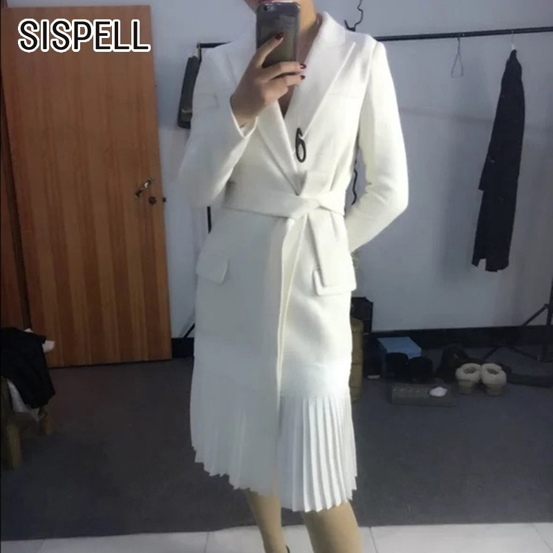 SISPELL 2019 Spring Autumn   Trench   Coats For Women Windbreaker Lapel Bandage Hem Pleated White Windbreakers Elegant Clothes New