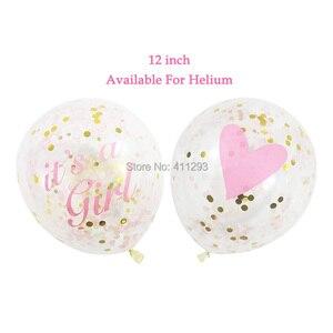 Image 3 - Sua uma menina balão seu um menino balão menino menina chuveiro banners bandeiras rosa azul confetes chuveiro do bebê balões decorações de festa