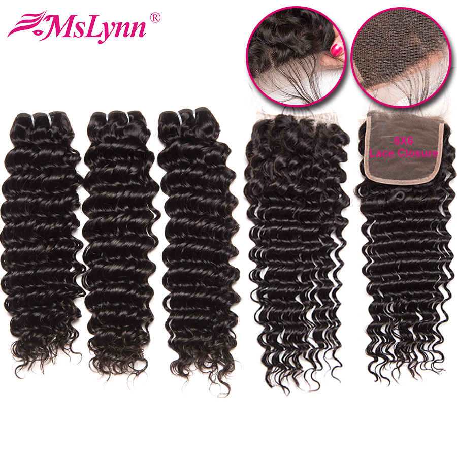 Deep Wave Bundles With Closure 6x6 Closure With Bundles Human Hair Bundles With Closure Brazilian Hair Weave Bundles Remy-in 3/4 Bundles with Closure from Hair Extensions & Wigs    1