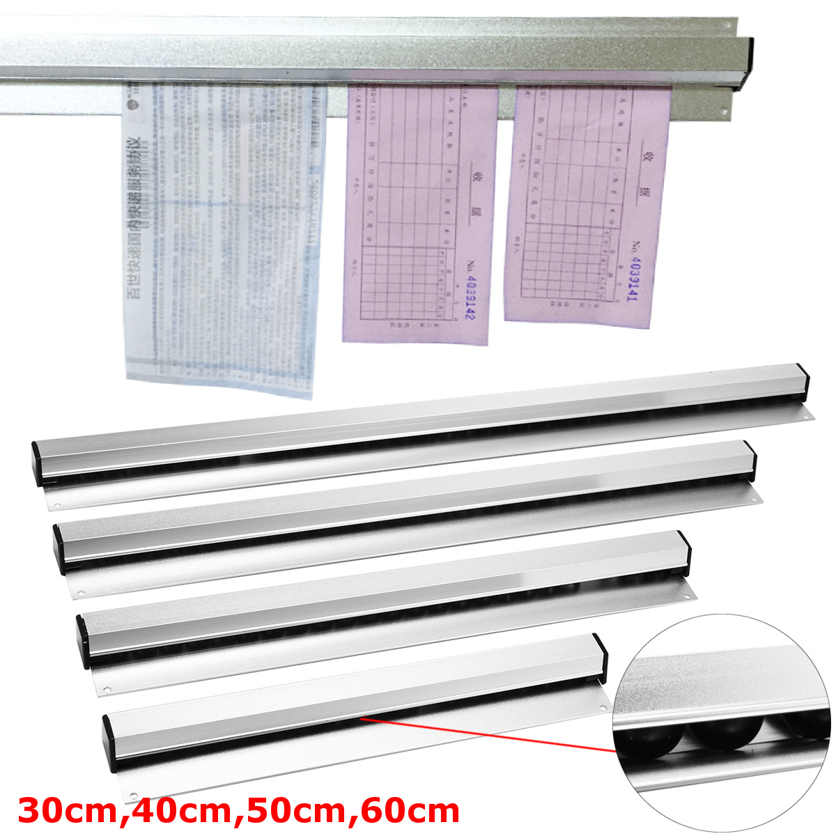 30cm 40cm 50cm 60cm Ticket Tab Bill Receipt Hanging Rack Bar Kitchen Order Document Holder Kitchen Tool Ticket Organizer