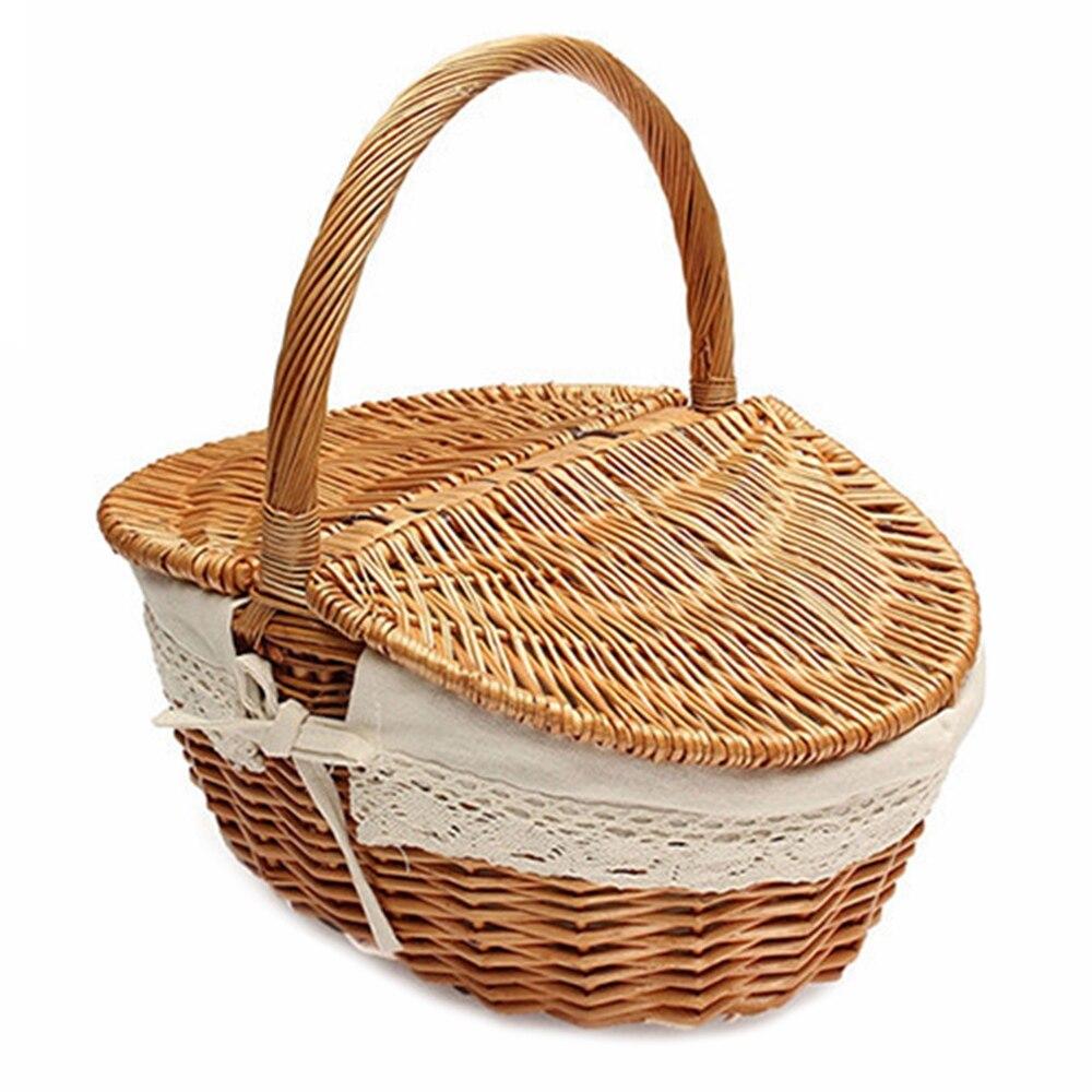 LUDA Wicker Basket Making English Country Style Camping Picnic Basket Shopping Storage Basket