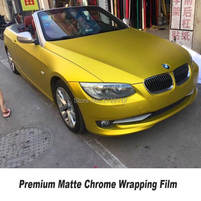 Premium matte chrome vinyl Wrapping Film car vinyl wrap High-quality matte chrome series Multiple size selection yellow matte biaze nova2 matte series red дефолт
