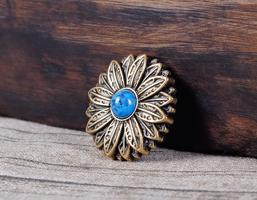 10PC 30*30MM Floral Headstall With Blue Turquoise Antique Brass Screwback Button