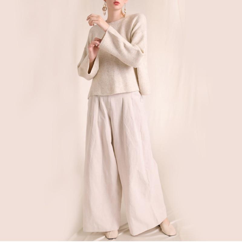 Col Nouveau Frank Khaki Retour robe Révéler Pull Automne Évider Facile Aléatoire Et Chandail Rond Dos apricot Costume Modèle D'hiver Joker Femme 8OwAqP