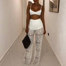 Women Summer Beach Hollow Out Pants See Through Crochet Pant Sexy Party Trousers Clubwear цена