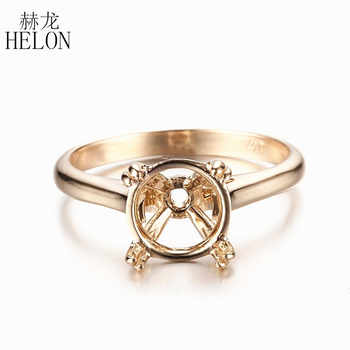 HELON Solid 10k Yellow Gold Solitaire Ring Semi Mount Ring Engagement Wedding Ring 9mm Round Shape Fine Jewelry Gold Ring - DISCOUNT ITEM  15% OFF All Category