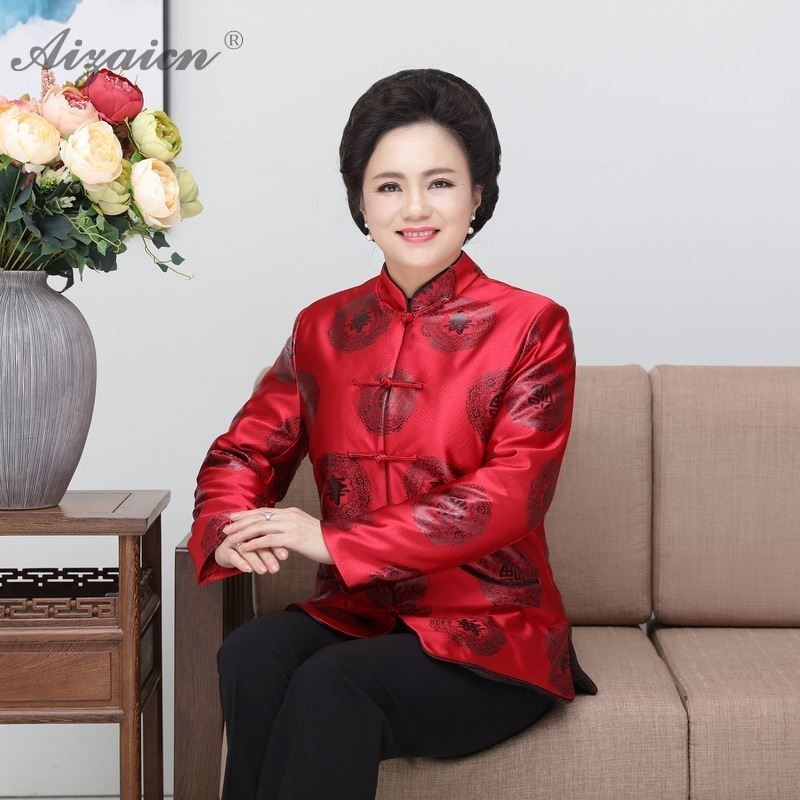Costume Longevity China Elderly Thickening Cheongsam Blouse Masculina Inverno Traditional Chinese Clothing For Women Elder Cloth