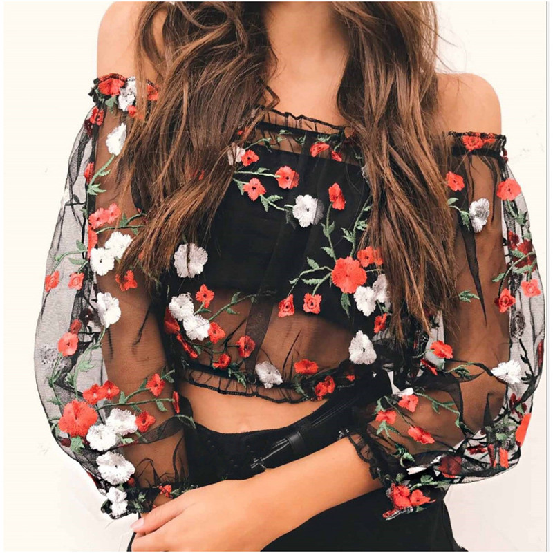 2018 New Sexy Women Summer Short Tops Long Sleeve Off Shoulder Sexy Perspective Embroidery Flowers Net Yarn Shirt Tops in T Shirts from Women 39 s Clothing