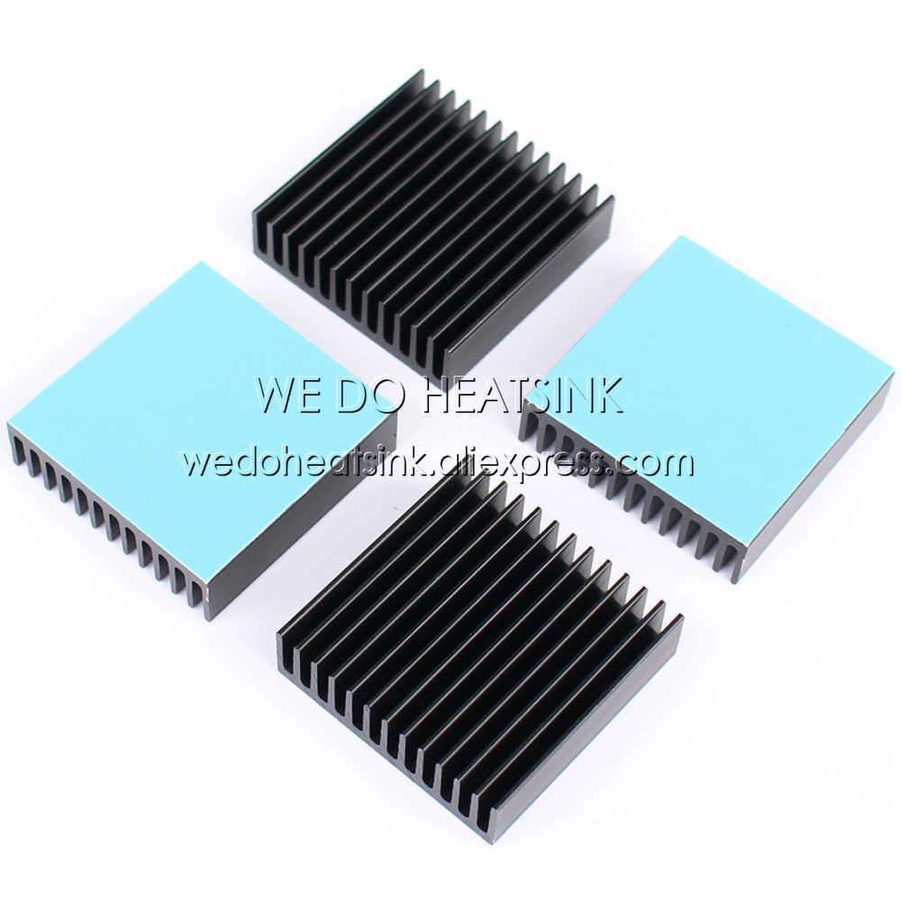 2 шт./лот 40x40x11 мм охладитель черный анодированный алюминиевый радиатор с синим теплопроводом для IC, BGA, VGA, PGA, QFP, LCC