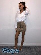 Summer Skirts 2019 New Casual Women Solid High Waist Suede Short Mini A-Line Zip Up