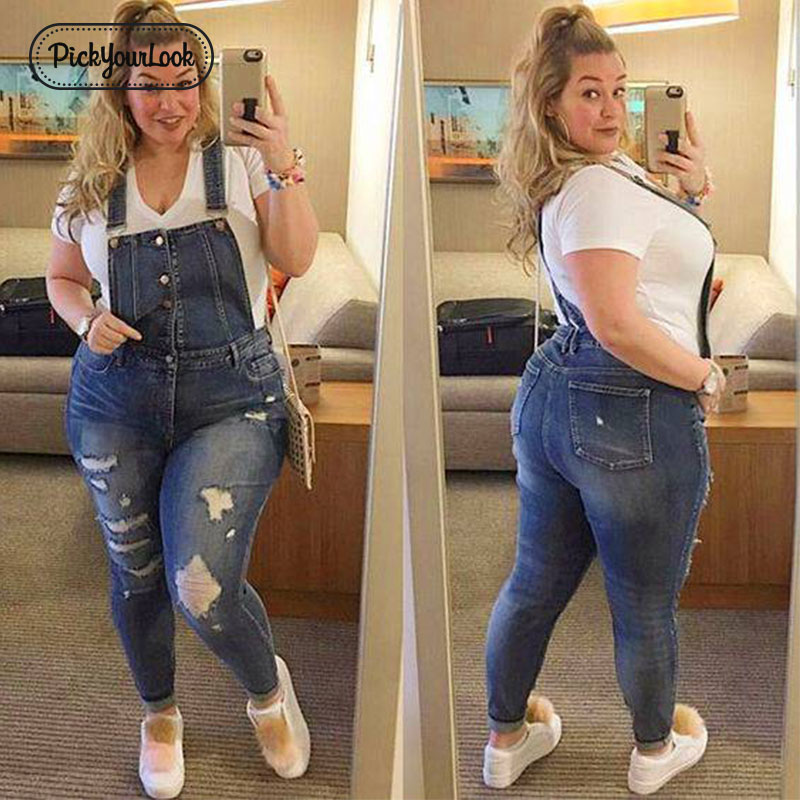 Pickyourlook Women Plus Size Overalls Denim Jumpsuit Blue Fashion Strap Lady Bodysuit Backless Large Size Female Body Rompers(China)