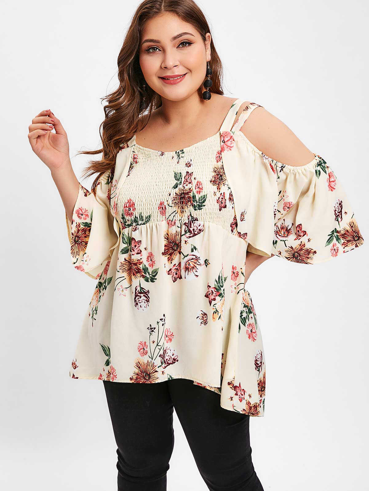 Wipalo Plus Size 5XL Floral Print Cold Shoulder Smocked Blouse 3/4 Length Sleeve High Low Hem Casual Blouse Spring Summer Blusas