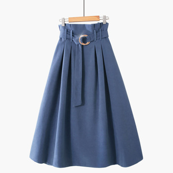 PEONFLY  Elegant Midi Long Skirts Women 2019 Autumn Winter Korean Suede Velvet Skirt Female A-line High Waist Pleated Blue Skirt 2
