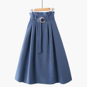 Image 2 - PEONFLY jupe longue mi longue pour femme, jupe élégante automne hiver, velours, coréen, jupe plissée, taille haute, ligne a, 2019
