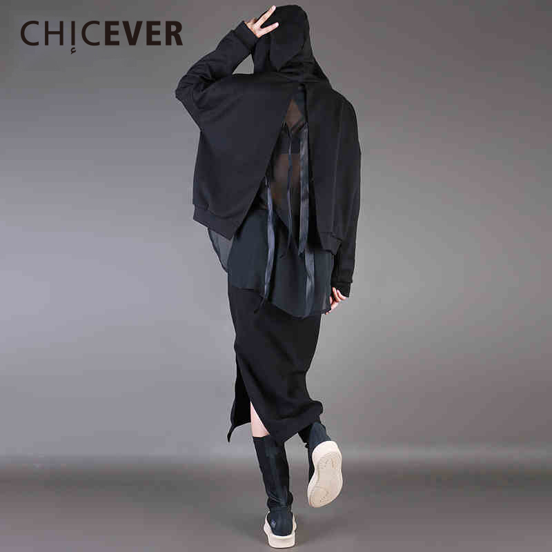CHICEVER Spring Black Hoody Female Sweatshirt For Women Top Patchwork Chiffon Back Split Bow Pulllovers Short Sweatshirts New