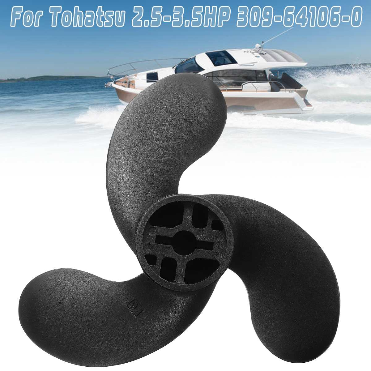 Boat Propeller 309-64107-0 7.4x5.7 For Nissan Tohatsu Evinrude Johnson 2.5-3.5HP 3 Blades R Rotation Composite Plastic Material